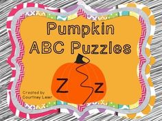 """This fall themed set includes 26 individual alphabet puzzle cards (""""Kk"""" is out of place and is included at the end of the pack). This is a quick-to-assemble activity that will provide meaningful learning for your students.  Your students will practice upper and lower case letter recognition skills.   Simply print, cut apart, laminate if desired, and learn!"""