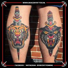 Traditional Tiger and Panther tattoo on the Calfs. Designed and Tattooed by: Vincent Penning Dragon Tattoo. Tattoo Portfolio, Panthers, Traditional Tattoo, Tatting, Dragon, Design, Traditional Style Tattoo, Traditional Styles, Tattoo Traditional
