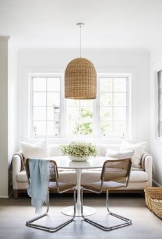 Modern Farmhouse Dining Nook via Sacramento Street // Dining Room Design Ideas, Modern Farmhouse Decor, Rattan Pendant Lighting, Wicker Chairs Dining Nook, Room Design, Interior, Dining Room Small, Farmhouse Dining Room, Dining Room Design, Dining Room Decor, Interior Design, Dining Room Furniture