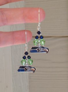 Seattle Seahawks Inspired Navy and Neon Green by scbeachbling, $16.00