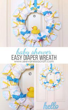 Easy Baby Shower Diaper Wreath Tutorial