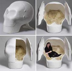Too much going on in your skull? A litte time in another head might alleviate that. Go on and let Atelier Van Lieshout's sensory deprivation skull chair take you away from your punishing life. Skull Furniture, Gothic Furniture, Cool Furniture, Bedroom Furniture, Unusual Furniture, Modern Furniture, Badass Skulls, Sensory Deprivation, Goth Home