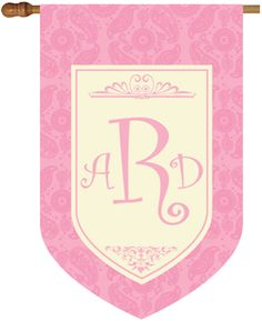Monogram House Flag - Paisley Pink : Personalized Gifts - Preppy Monogrammed Gifts @ 2PreppyGirls.com