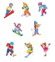 Баринова Татьяна. Сообщество иллюстраторов | Иллюстрация зимние виды спорта. Winter Kids, Winter Sports, Art For Kids, Crafts For Kids, Hockey Pictures, Soccer Photography, English Fun, Sports Party, Elementary Art