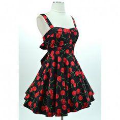 Vestido vintage Gallus Backless Diseño impresión de la cereza del arco de las mujeres sin mangas para Vender - La Tienda En Online IGOGO.ES