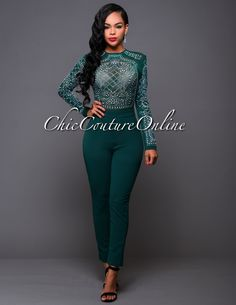 Chic Couture Online - After Party Hunter Green Iridescent Stones Jumpsuit.(http://www.chiccoutureonline.com/after-party-hunter-green-iridescent-stones-jumpsuit/)