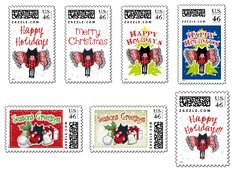 Happy Holidays, Christmas, Seasons Greetings Postage Stamps #Holiday #Christmas #cat #Kitten #Postal #Stamps