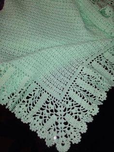 "diy_crafts- Mary Helen artesanatos croche e trico: Mantas bebe ""Crocheted Light Pink Baby Afghan by CrochetBySusie on Etsy"" Baby Afghan Crochet Patterns, Crochet Bedspread Pattern, Crochet Borders, Filet Crochet, Baby Blanket Crochet, Crochet Stitches, Crochet Baby, Baby Shawl, Handmade Baby Blankets"