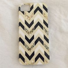 iPhone 5 Chevron Case Black, metallic, and white chevron on off white ground. No visible use! Accessories Phone Cases