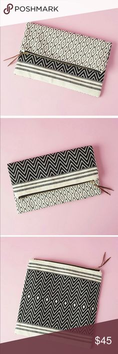 """TRIBE ALIVE - FOLDOVER CLUTCH BRAND NEW   TRIBE ALIVE FOLDOVER CLUTCH (REVERSIBLE PATTERN - BROCADE). Can be worn 2 ways. 100% handwoven cotton.  Interior lining.  11.5"""" W x 11.5"""" H.  RETAILS - $98. 🚫NO TRADES🚫. 💲BUNDLE TO SAVE💲 Tribe Alive Bags Clutches & Wristlets"""