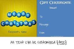 christmas gift certificate template in blue and yellow Christmas Gift Certificate Template, Certificate Templates, Gift Certificates, Business Gifts, Business Card Holders, Company Gifts, Realtor Gifts, Free Christmas Printables, Corporate Gifts