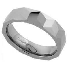 6mm Tungsten Wedding Band Faceted Band Triangular Prism Patterns Comfort fit, sizes 7 to 13