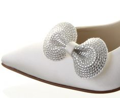Gemini ~ Dyeable Ivory Satin Bride~Bridesmaid Wedding Shoe Clips By Rainbow Club