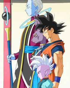 Dragon Ball Super. Whis, Beerus, Goku and Supreme Kai confront Zamasu about his evil intentions.