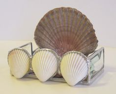 Stained Glass Business Card Holder - Shells and Purple Glass.