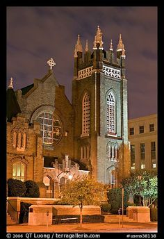 St Andrew Episcopal Cathedral at night. Jackson, Mississippi, USA   My home church.