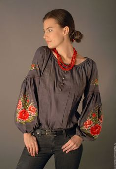 "Buy and order Grey embroidered blouse ""Charm rose"" hand stitch on Livemaster online shop. Shipped over Russia and the CIS. Embroidered Clothes, Embroidered Blouse, White Shirts Women, Blouses For Women, Ethnic Fashion, Boho Fashion, Casual Chic, Boho Chic, Looks Jeans"