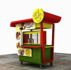 GEROBAK MODERN: display es jus Cafe Shop Design, Kiosk Design, Booth Design, Food Cart Design, Food Truck Design, Coffee Shop Counter, Brazilian Restaurant, Party Stations, Bike Food