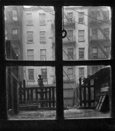 Consuelo Kanaga (American, 1894-1978). [Untitled] (Window Pane with View of City Yard), 1930s or 1940s. Gelatin silver photograph, Image: 3 3/4 x 3 3/8 in. (9.5 x 8.6 cm). Brooklyn Museum, Gift of Wallace B. Putnam from the estate of Consuelo Kanaga, 82.65.239. copyright transferred to Brooklyn Museum by the Estate of Wallace Putnam (Photo: Brooklyn Museum, 82.65.239_bw_IMLS.jpg)