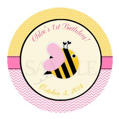 Honey bee Cupcake Topper - bee sticker - bee favor tag - bee label - bee baby shower - bumble Bee printable - pink Bee birthday party