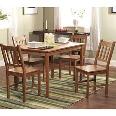5-Piece Eco-Friendly Solid Bamboo Dining Set