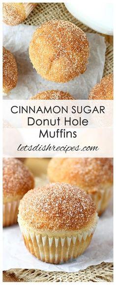 Cinnamon Sugar Donut Hole Muffins Recipe | These cinnamon and sugar coated mini muffins look and taste just like donut holes!