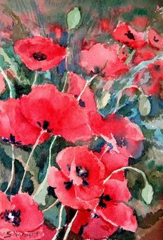Field Poppies, Original watercolor painting 10 X 7, impressionism, Floral Garden Art nature. $24.00, via Etsy.