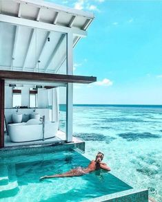 Villa in the Maldives. Wanderlust bucket list of places to travel and a visit on a vacation trip. Tropical places to vacation. Vacation Places, Vacation Destinations, Dream Vacations, Vacation Spots, Places To Travel, Holiday Destinations, Hotel Swimming Pool, Swimming Pool Pictures, Hotel Pool