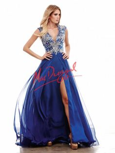 Royal Blue Prom Dress   Princess Gown   Mac Duggal 64980A