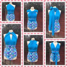 Swimsuit multiway infinity/swimsuit/turquoise blue/triangle high waisted one piece/costume beach/holiday swimwear order your size by Adressbybetsy on Etsy https://www.etsy.com/uk/listing/273344912/swimsuit-multiway