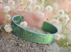 Bridesmaid Cuff Bracelet, Titanium Bracelet, Green Cuff, Statement Jewelry, Wedding Jewerly, Giampouras Collections