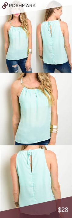 🆕 Classy Mint Summer Top A MUST HAVE for summer 😍 Versatile top that can be dressed up or down 💁🏻 100% Polyester. No trades. Kyoot Klothing Tops
