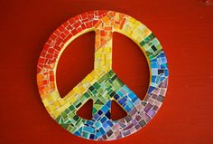 Rainbow Mosaic Peace Sign made with broken cds and color