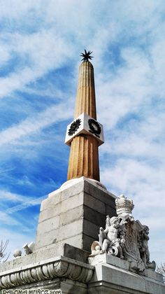 Obelisco de la antigua fuente de La Plaza de Roma. Obelisk , Madrid-Río