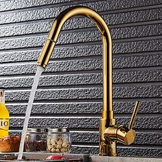 Luxurious High-Arc Single Lever Mono Solid Brass Pull-out Spray Kitchen Mixer Tap in Gold - Kitchen Taps - Bath & Taps Gold Kitchen Faucet, Cheap Kitchen Faucets, Pull Out Kitchen Faucet, Kitchen Mixer Taps, Sink Mixer Taps, Kitchen Handles, Kitchen Fixtures, Kitchen Sinks, Brass Faucet