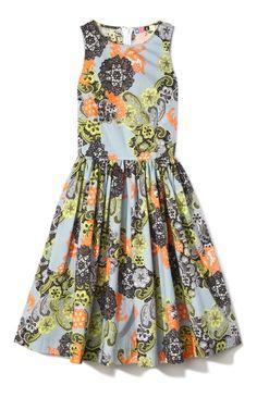MSGM Lace Print Poplin Day Dress