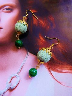 SPRING GREEN lava rock and kelly green by TheEnglishEclectic, $20.00
