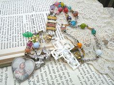 cross necklace assemblage religious bird Catholic heart shabby