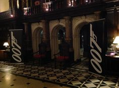 Bit of Bond theming for the Ball tonight at @crewehall A welcome sight to get the guests ready to part with their cash at the fundraiser. #spiritshighdj #bondparty #007banner #bondtheme #crewehall