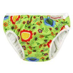 Bañador Pañal ImseVimse_Verde FloresLos bañadores pañal de ImseVimse son elásticos y suaves tanto en la cintura como en las piernas, para que tu bebé se mueva con libertad dentro y fuera del agua.  El interior está fabricado de poliuretano laminado, una tela suave especial para evitar fugas. El exterior está hecho de tela de bañador clásica. Los dos broches de presión en el lateral te ayudan a poner y sacar el bañador fácilmente, incluso cuando está mojado.