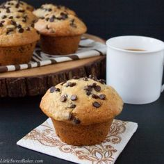 Bakery Style Chocolate Chip Muffins - Little Sweet Baker