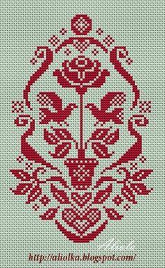 Potted rose cross stitch mono