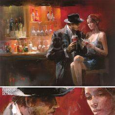 """31x23"""" Evening IN THE BAR I BY Willem Haenraets Drink Cigarette Nightclub Canvas   eBay"""