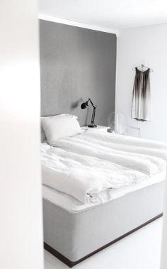 Grey wall in bedroom