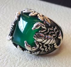 huge scorpion sterling silver 925 huge ring any size rectangular green aqeeq agate middle eastern vintage handmade jewelry fast shipping Gold And Silver Rings, Sterling Silver Rings, Army Rings, Dragon Ring, Black Gems, Photo Jewelry, Bracelets For Men, Rings For Men, Handmade Jewelry
