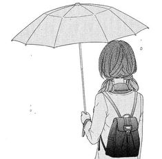 manga, umbrella, and anime image Manga Girl Drawing, Anime Art Girl, Anime Girls, Anime Comics, Dandere Anime, Photo Manga, Wie Zeichnet Man Manga, Black And White Girl, Image Manga