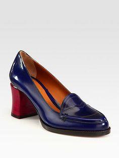 Blue loafer w red block heel