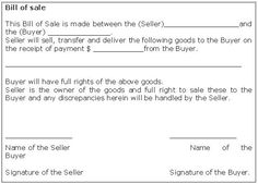 bill of sale for the assets of business:
