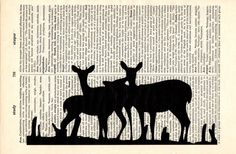 Deer dictionary book page collage art print