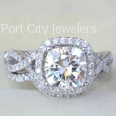The Paisley Ring Series - White Gold Center Forever One Moissanite Cushion Cut w/ Halo Pave Set Side Stones & Matching Form Fit Band Cushion Cut Engagement Ring, Engagement Rings Round, Halo Engagement, Diamond Promise Rings, Diamond Wedding Rings, Bridal Rings, Solitaire Rings, Band Rings, Wedding Bands